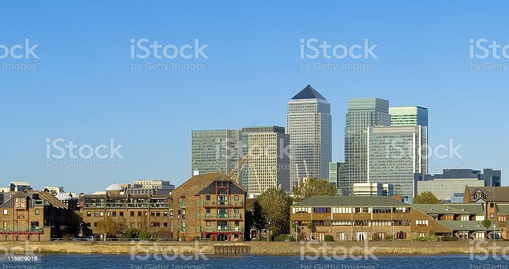 Canary Wharf and life on the Thames. royalty-free stock photo