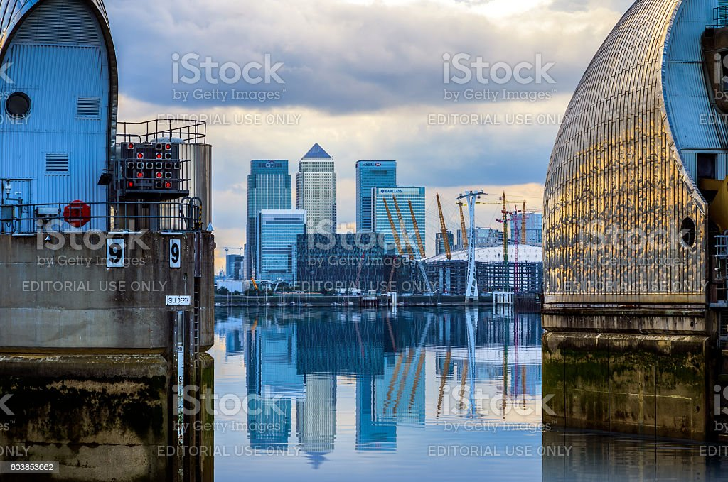Canary Wharf and Thames Barrier stock photo