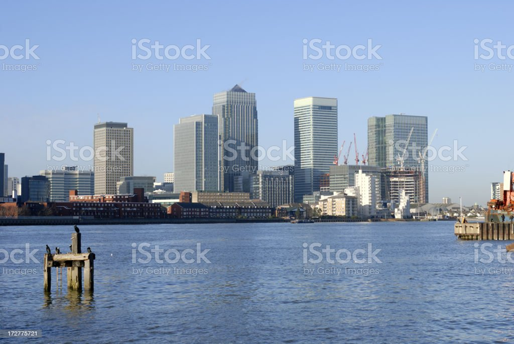 canary wharf and thames royalty-free stock photo