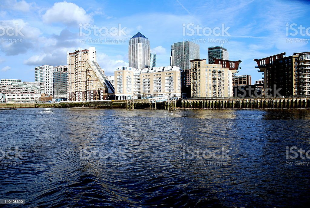 Canary Wharf and Waves royalty-free stock photo