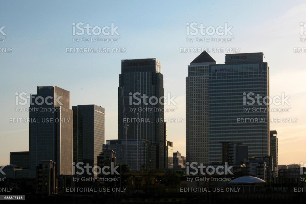 Canary Wharf at dusk stock photo