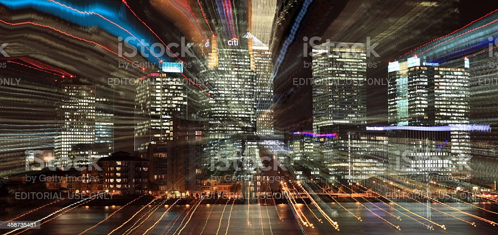 Canary Wharf At Night, Lens Zoom Burst stock photo