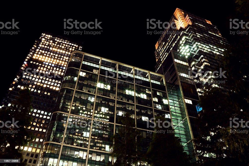 Canary Wharf at night royalty-free stock photo