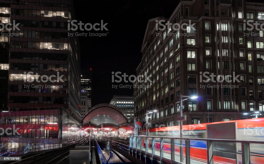 Canary Wharf at night stock photo