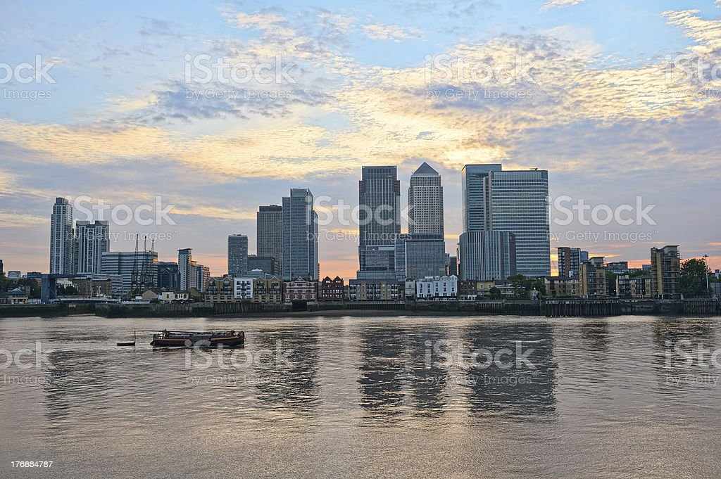 Canary Wharf at sunset, looking over River Thames, London, UK stock photo