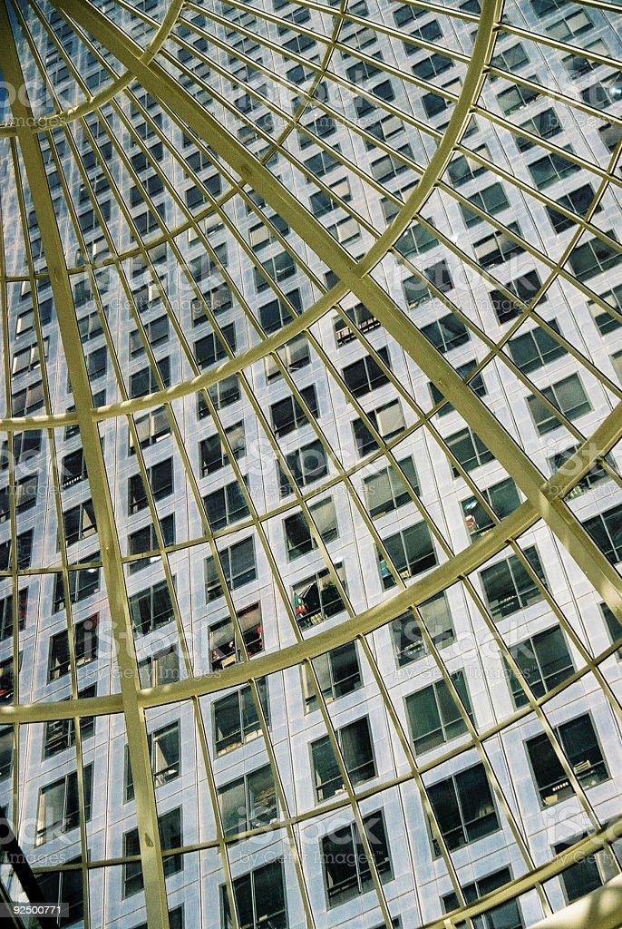 Canary wharf building through skylight royalty-free stock photo