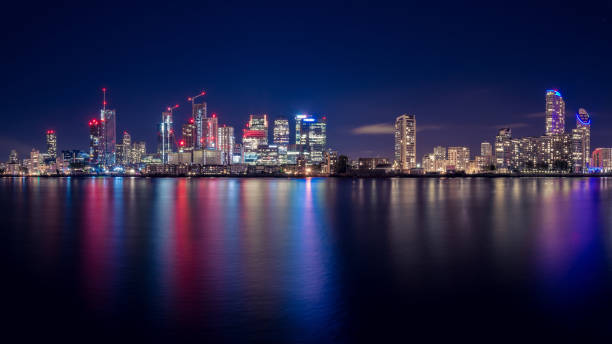 Canary Wharf Business District Skyline at Night stock photo