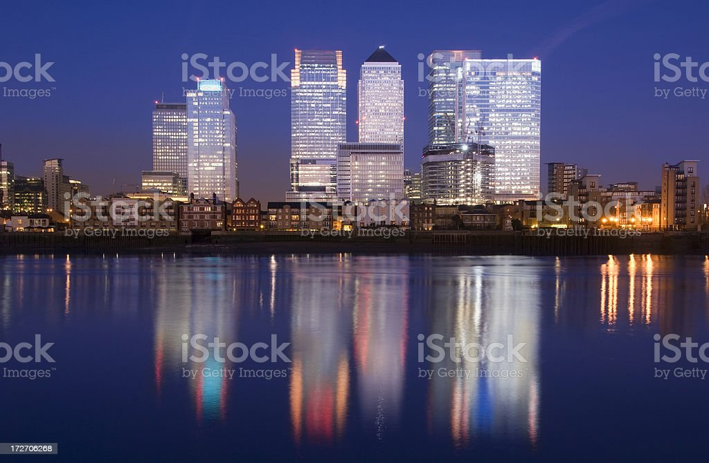 Canary Wharf City Skyline at Night in London UK royalty-free stock photo