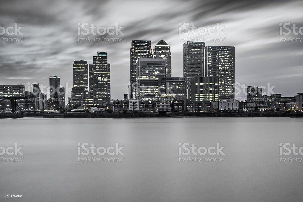 Canary Wharf - City Skyline - Selective Colour stock photo