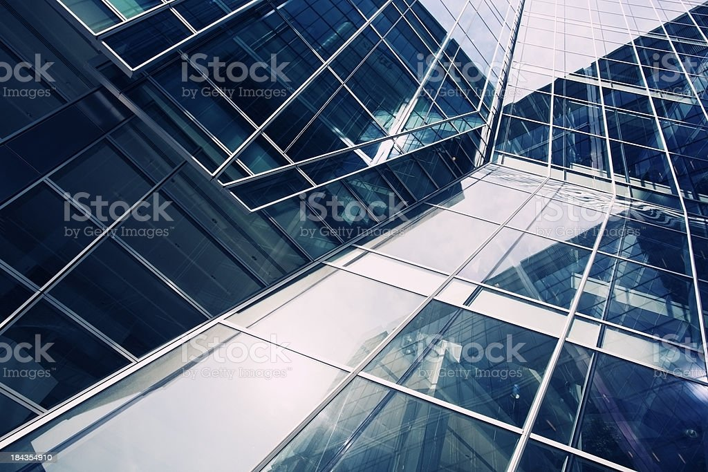 Canary Wharf city skyscrapers view in wide angle. royalty-free stock photo