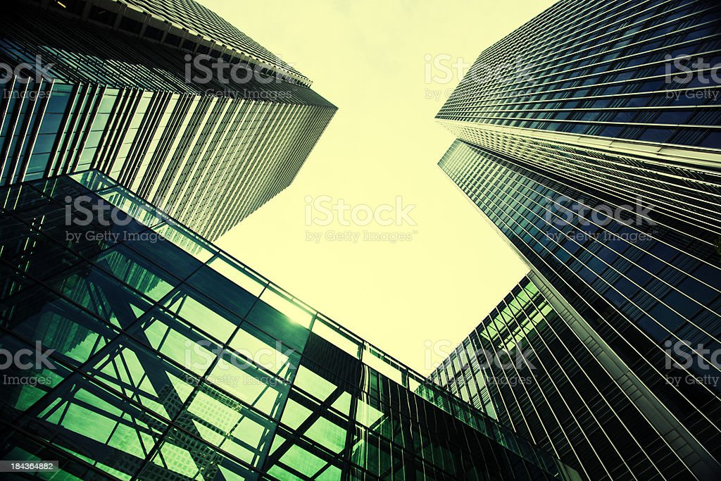 Canary Wharf city skyscrapers view in wide angle. stock photo