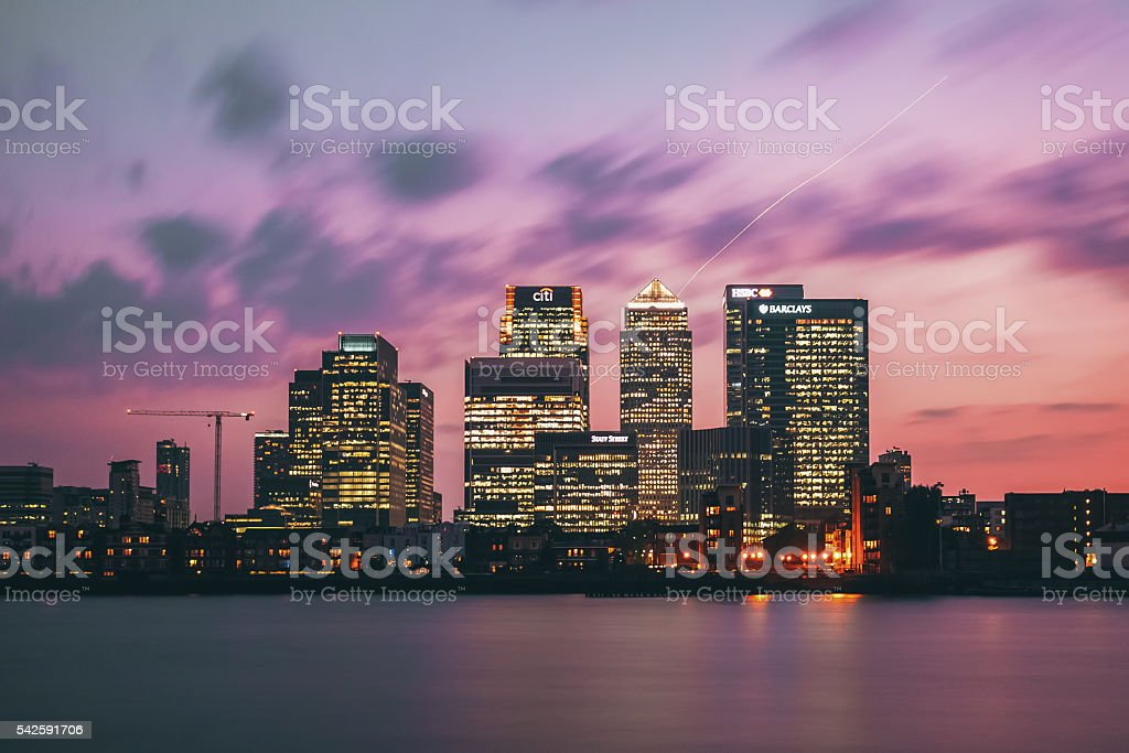 Canary Wharf district from O2 Arena stock photo