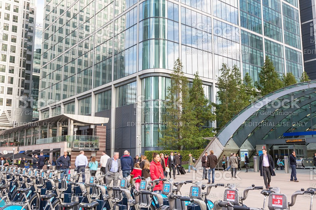 Canary Wharf district with Barclays Cycle Hire docking station stock photo