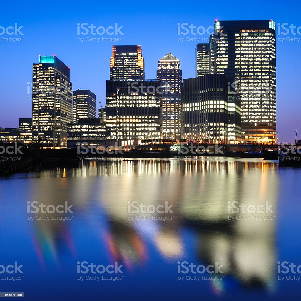 Canary Wharf Dusk, London royalty-free stock photo