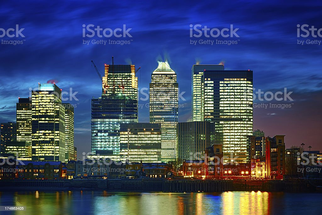 Canary Wharf financial center at dusk, London royalty-free stock photo