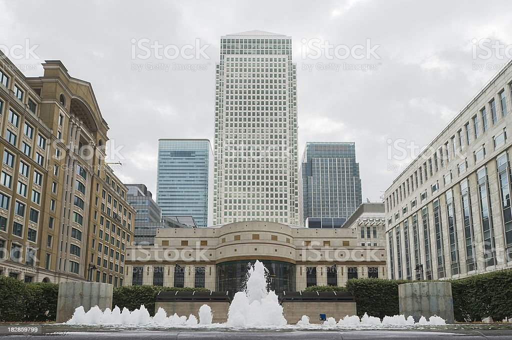 Canary Wharf financial center, London stock photo