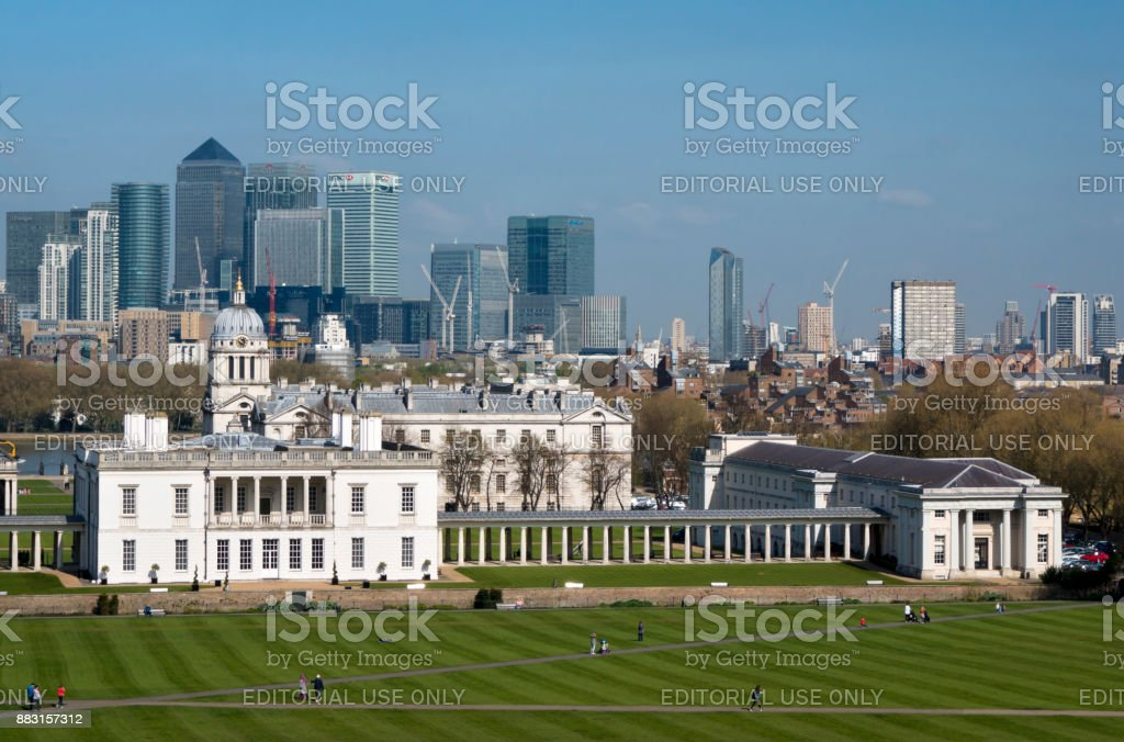 Canary Wharf from the Royal Observatory, Greenwich stock photo