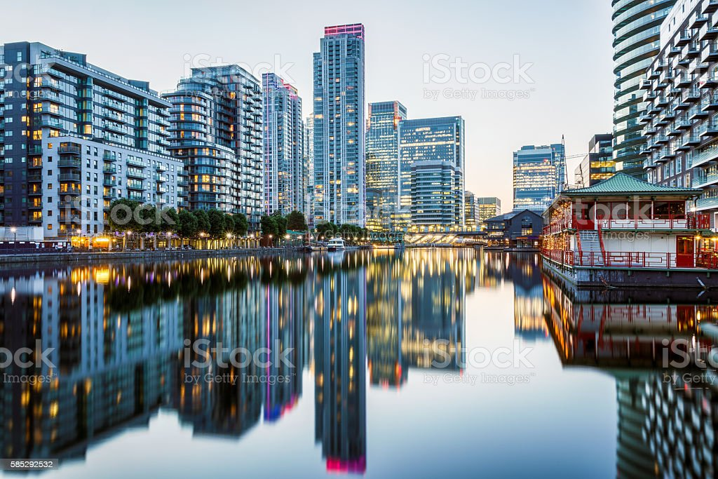 Canary Wharf in London at Evening stock photo
