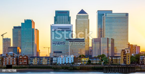 istock Canary Wharf in London at Sunset 591782758