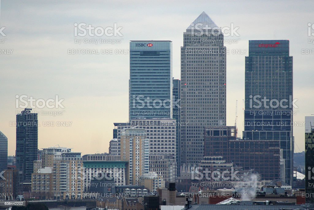 Canary Wharf in London stock photo