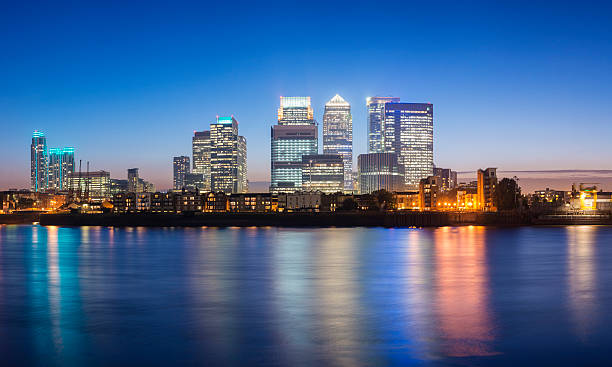 Canary Wharf London City Skyline at Night UK stock photo