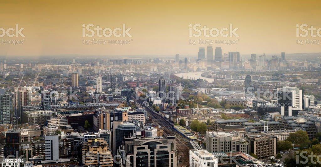 Canary Wharf London City Skyline Daytime stock photo