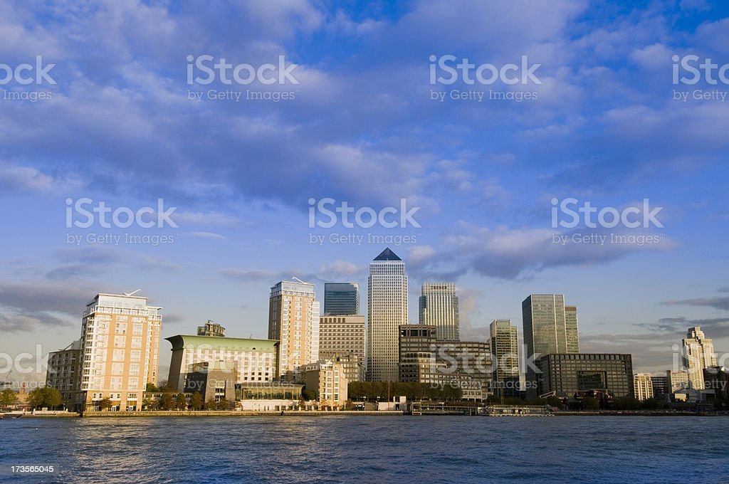 Canary Wharf London City Skyline in London UK stock photo