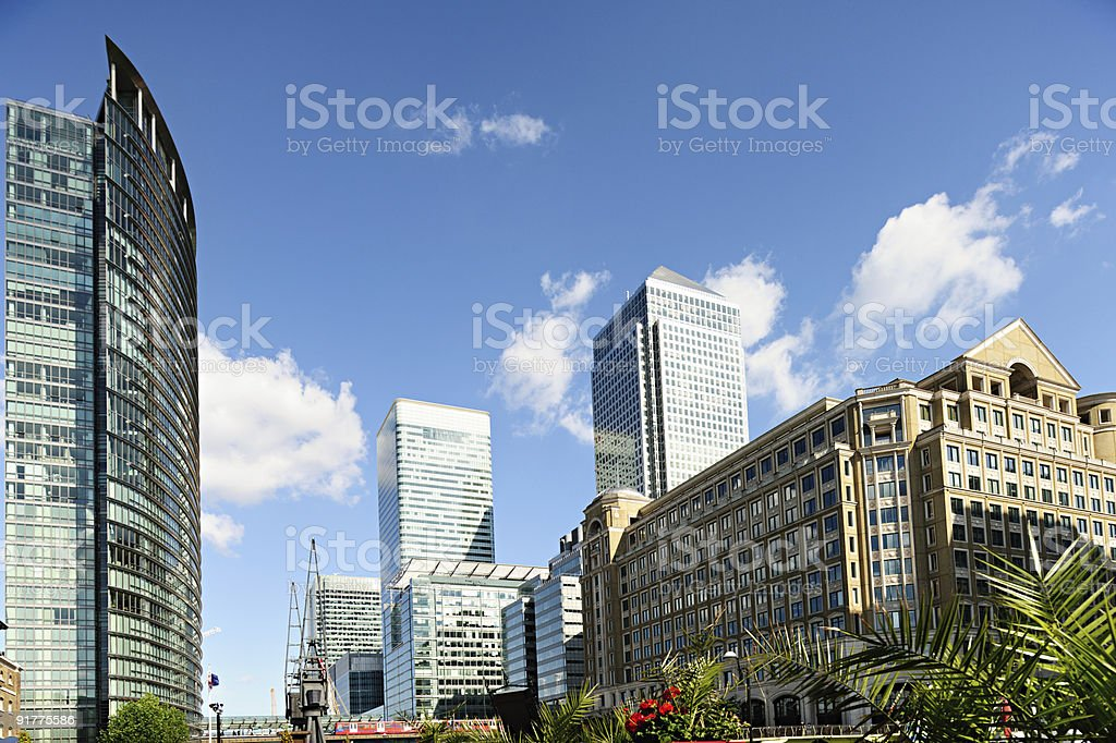 Canary Wharf London England UK from West India Quay stock photo
