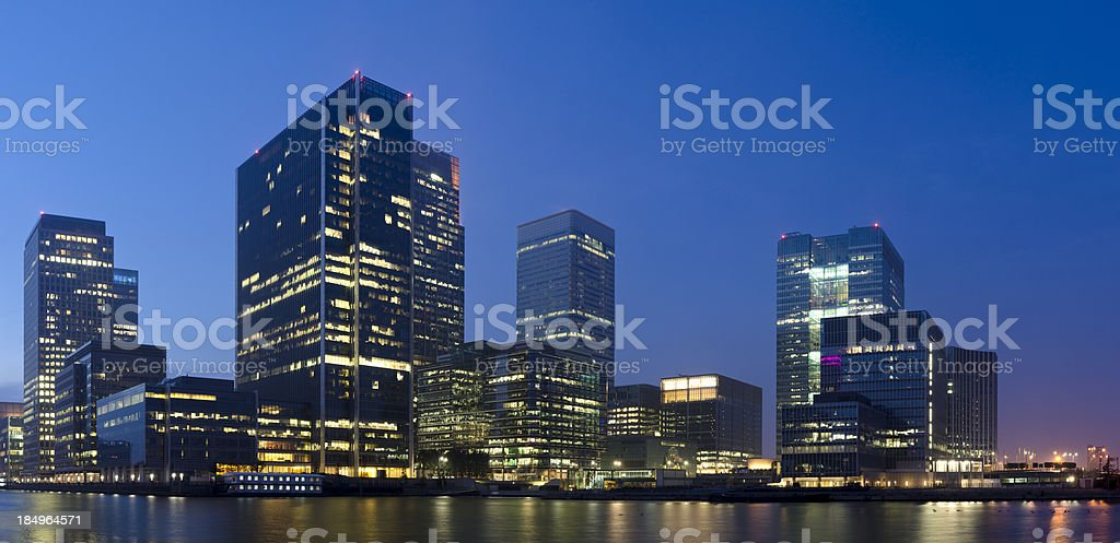 Canary Wharf night skyscraper panorama, London royalty-free stock photo