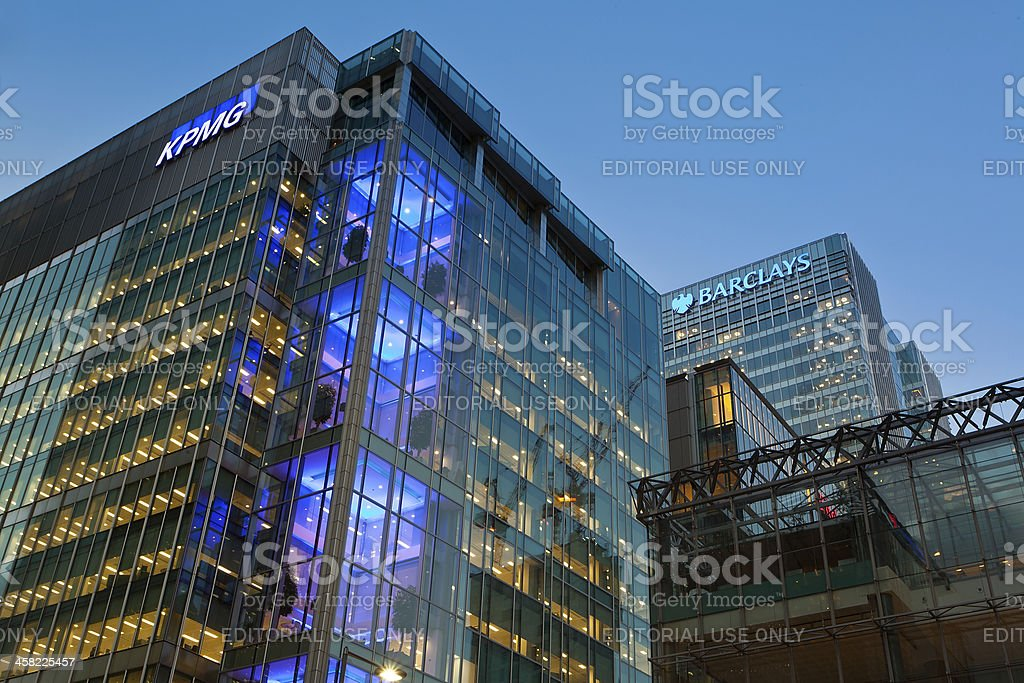KPMG Canary Wharf Offices stock photo