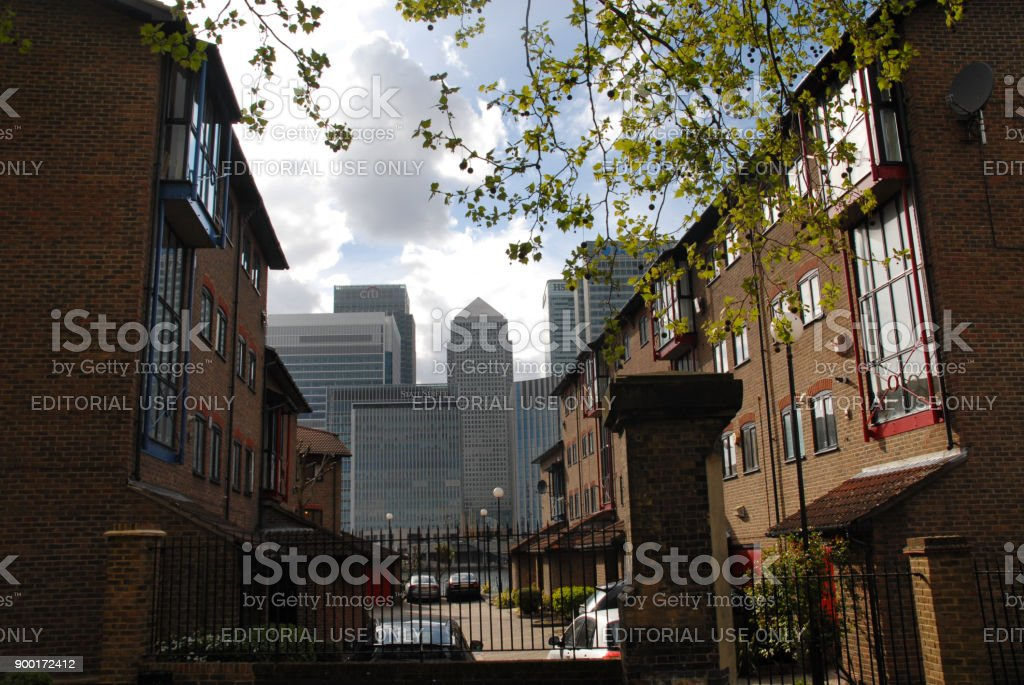 Canary Wharf seen from old buildings at Managers Street stock photo