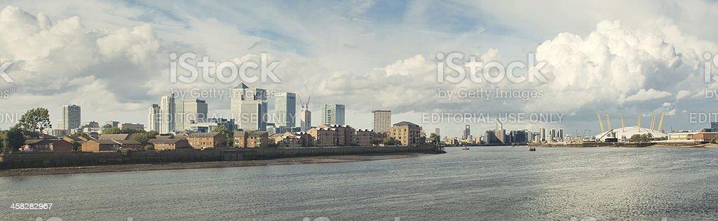 Canary Wharf skyline and Greenwich peninsula Panorama stock photo