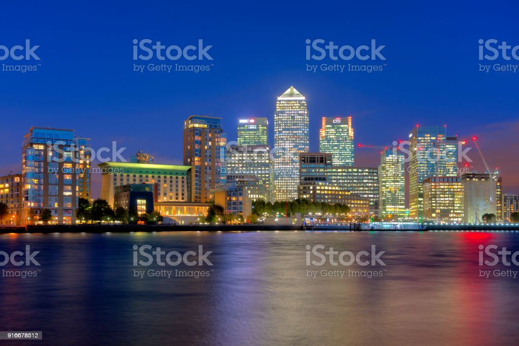 Canary Wharf Skyline at Dusk, London stock photo