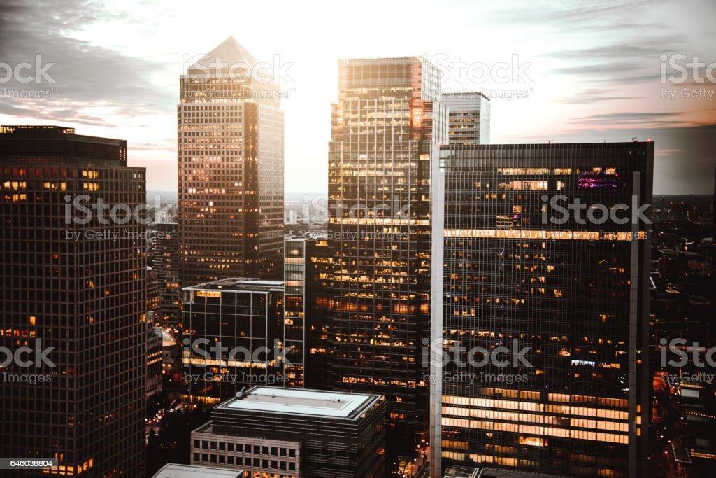 canary wharf skyline at dusk stock photo