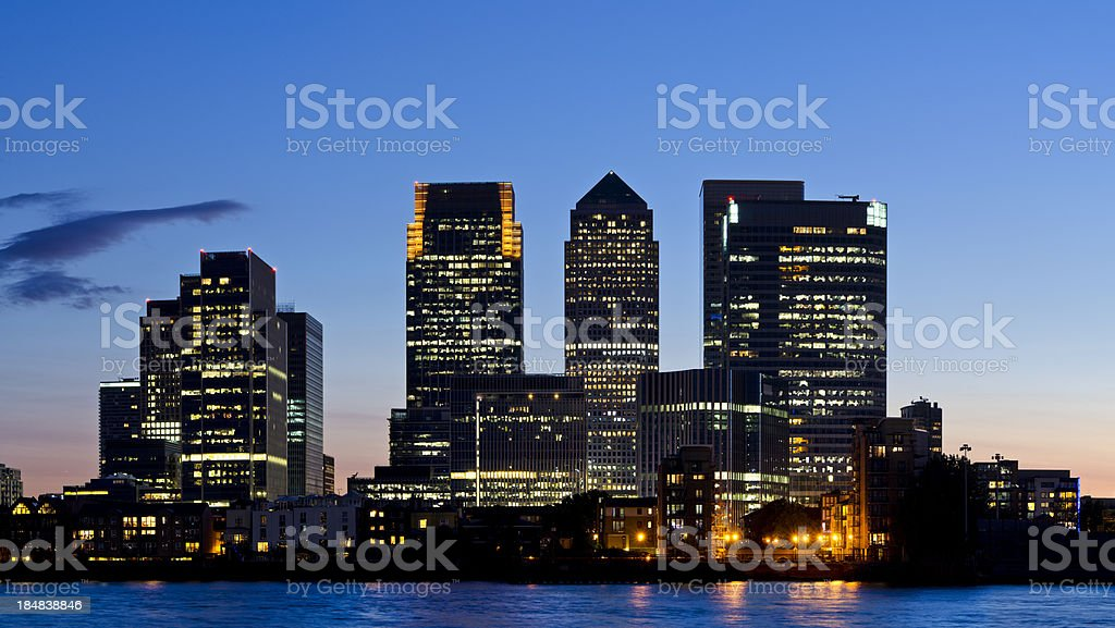Canary Wharf skyline at sunset, London stock photo