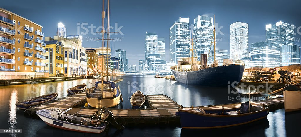 Canary Wharf Skyline at Twilight royalty-free stock photo