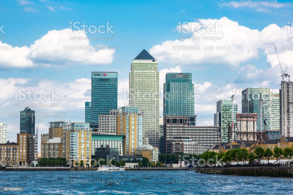 Canary Wharf skyscrapers in London stock photo