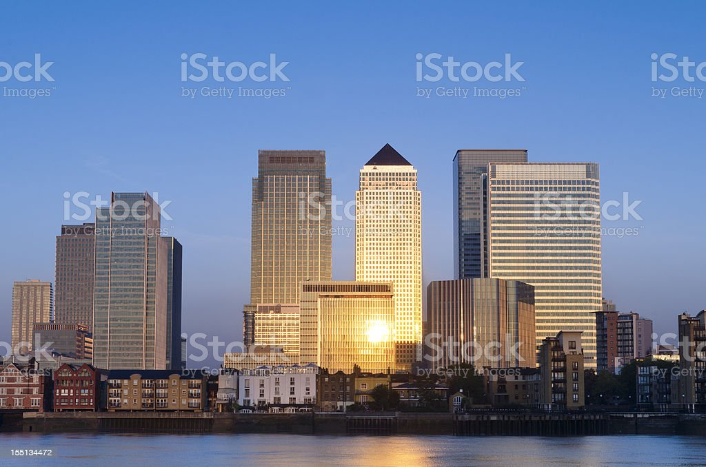 Canary Wharf skyscrapers sunrise, London stock photo