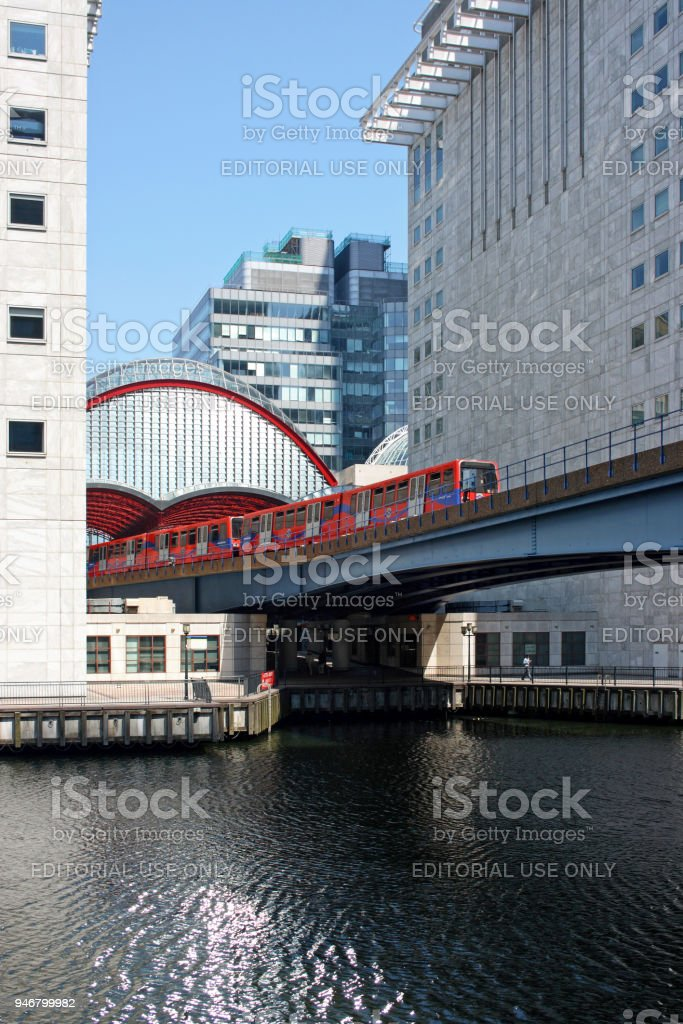 Canary Wharf station in London stock photo