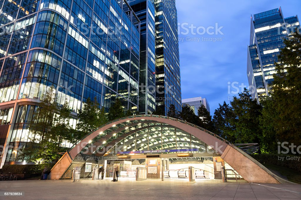 Canary Wharf Subway Station, London's Financial District, England stock photo