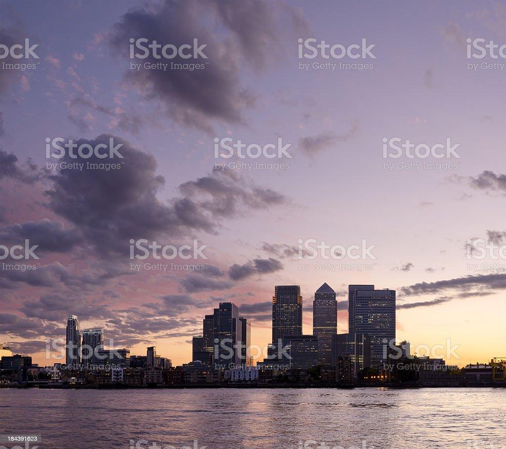 Canary Wharf sunset, London stock photo
