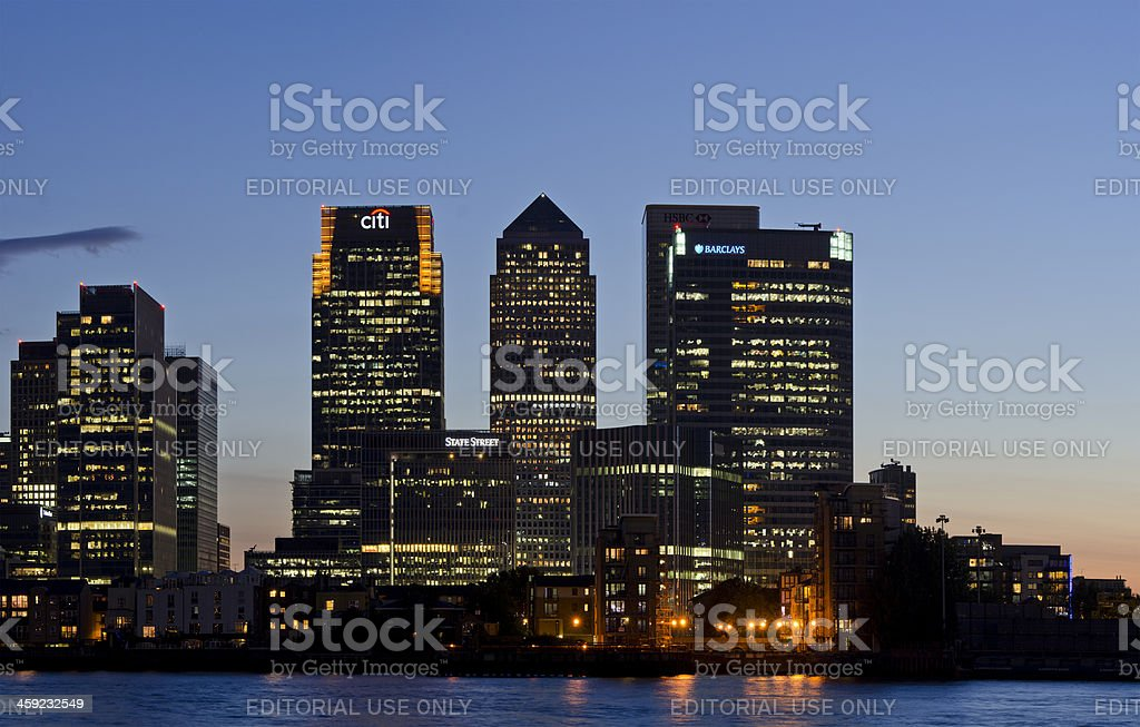 Canary Wharf sunset, London stock photo