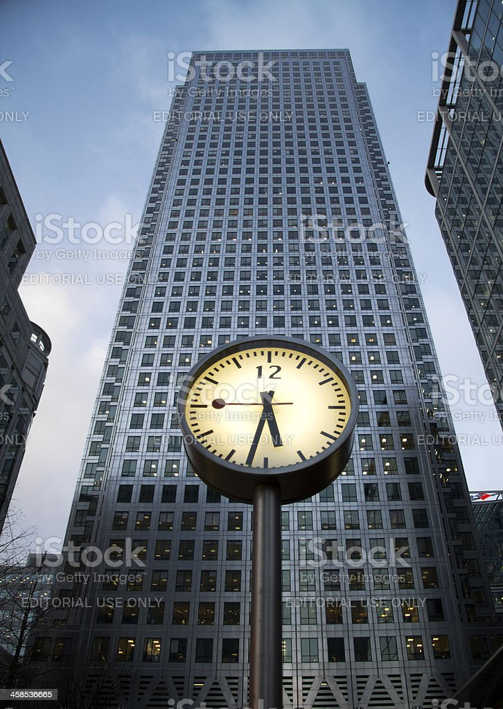 Canary Wharf Tower and Clock stock photo