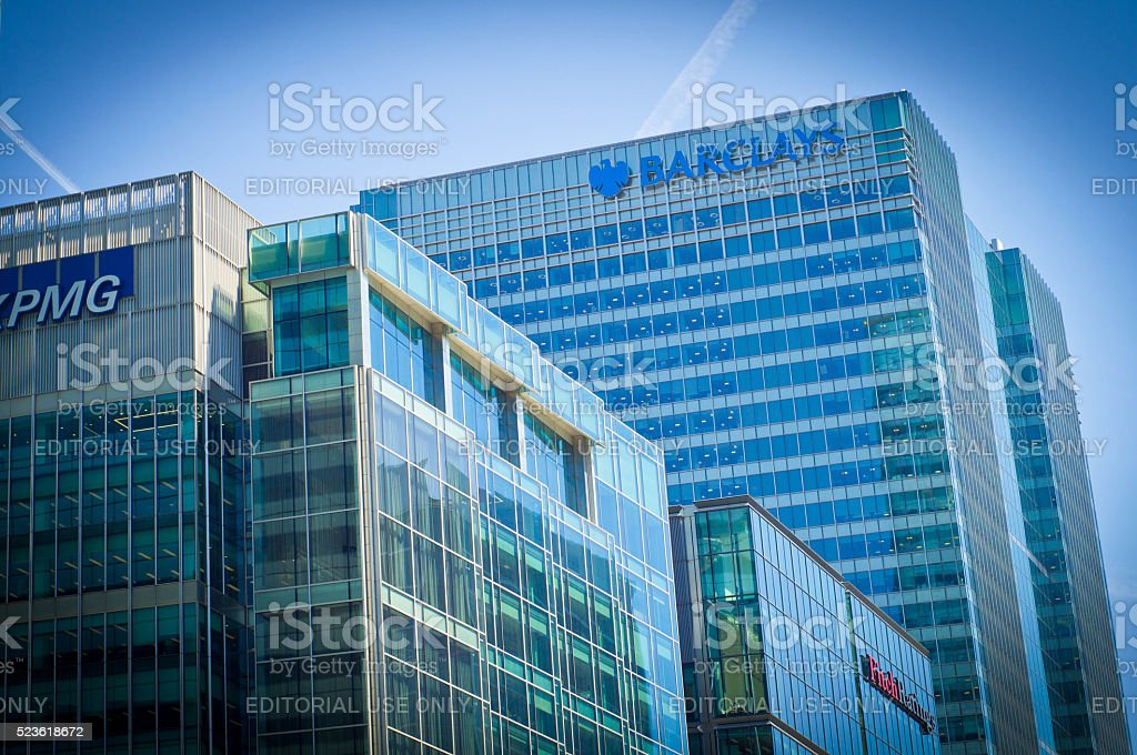 Canary Wharf tower block stock photo