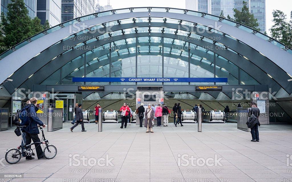 Canary Wharf tube station, London stock photo