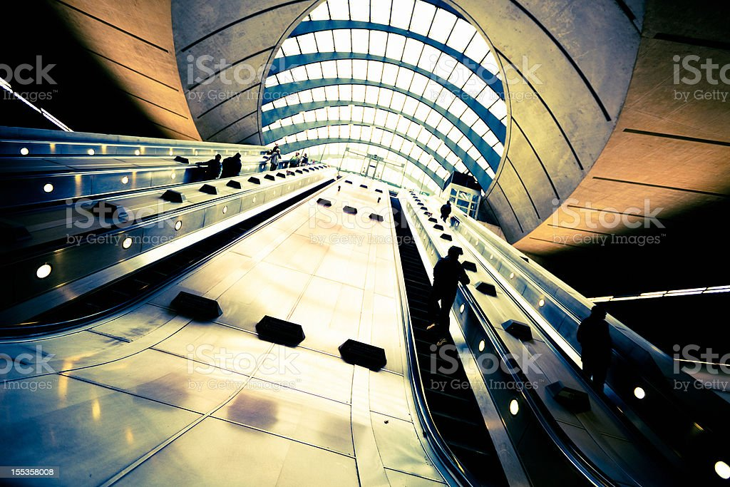 Canary Wharf underground station in London stock photo