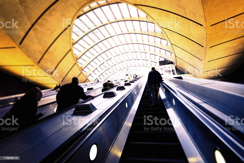 Canary Wharf underground station in London royalty-free stock photo