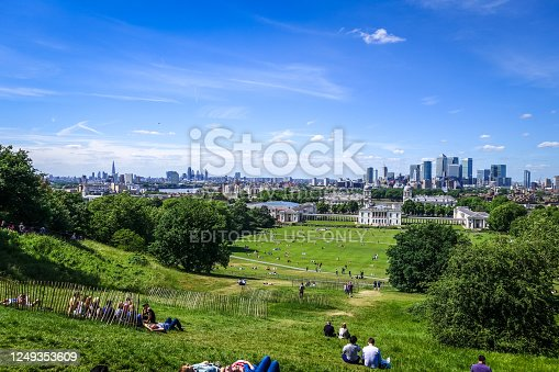 London/UK - June 3, 2017 - Canary Wharf and cityscape view from Greenwich Park