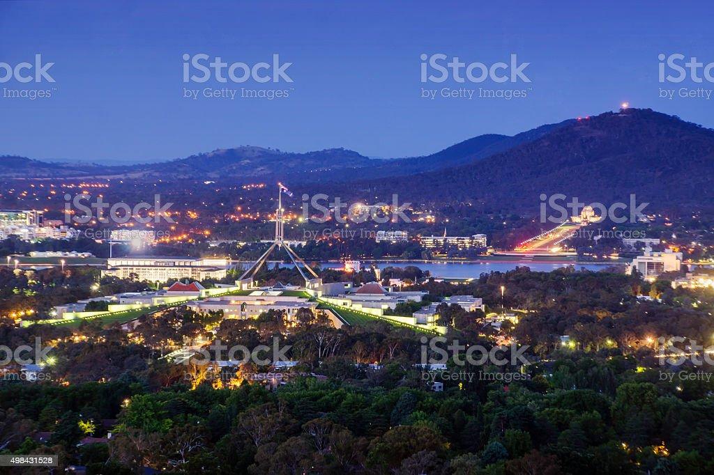 Canberra, Australia, at dusk stock photo
