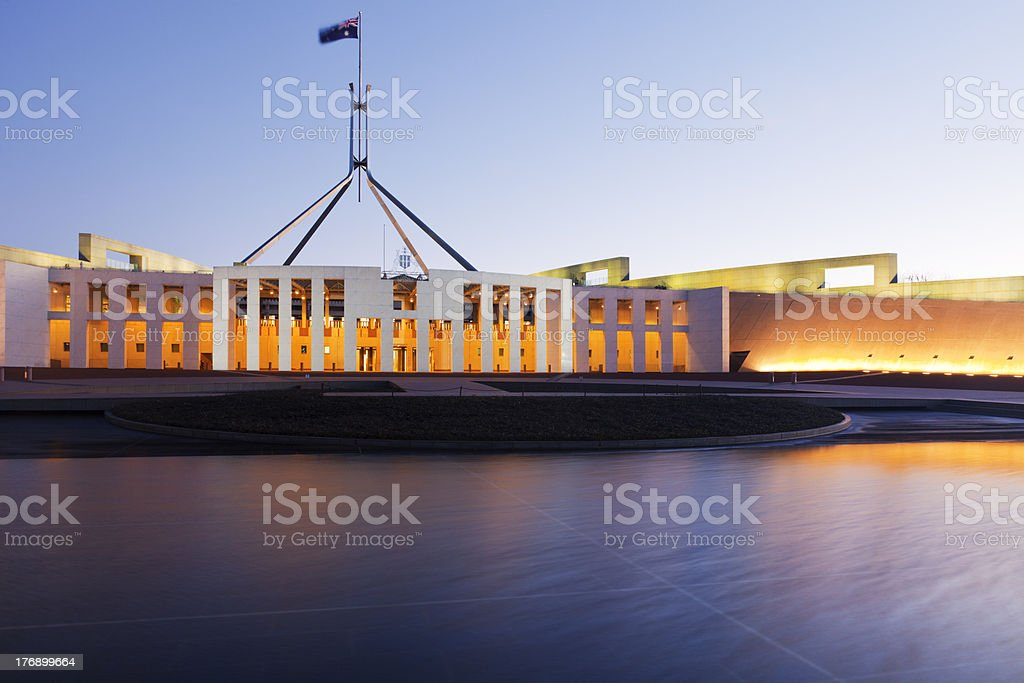 Canberra Australia Parliament House Twilight stock photo